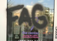 First vandals tried to burn the LGBTQ center down. Now they've left antigay slurs on the front door.