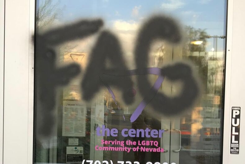 The front door of the LGBTQ Center of Southern Nevada was vandalized with an antigay slur.