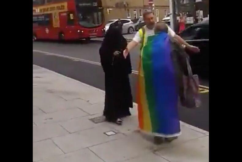 Jamila Choudhury accosts an elderly pride attendee in Northeast London
