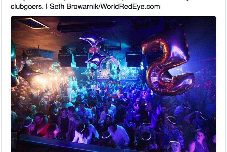 The photo that allegedly shows Jerry & Trey Falwell at the WALL nightclub in Miami.