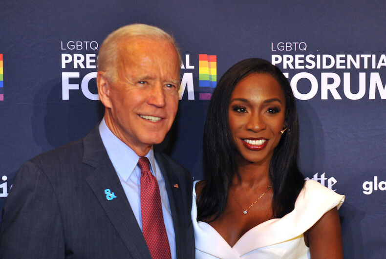 Former Vice President Joe Biden with trans actress Angelica Ross at the GLAAD Presidential Candidate Forum on LGBTQ Issues.