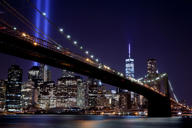 September 11, 2014: The installation of 88 searchlights on the Brooklyn Bridge has been displayed annually in remembrance of the September 11, 2001 attacks.