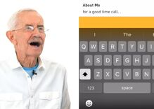 The old gays try Grindr for the first time & they're not shy. At all.