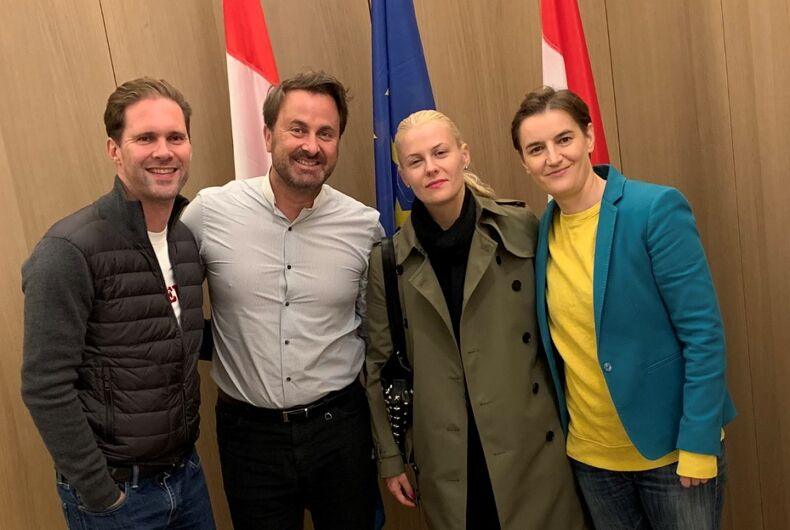 From left to right: Gauthier Destenay, Xavier Bettel, Milica Đurđić, and Ana Brnabić.