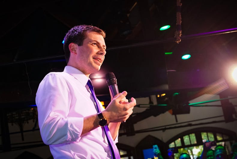 Pete Buttigieg on a stage