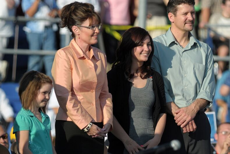 Vice Presidential candidate Sarah Palin and her family campaign in Washington, PA, August 30, 2008, with her husband Todd and two of their children.