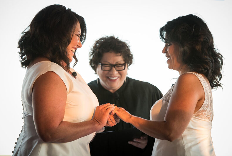 Ingrid Duran (L) and Catherine Pino (R) at their wedding, officiated by Justice Sonia Sotomayor