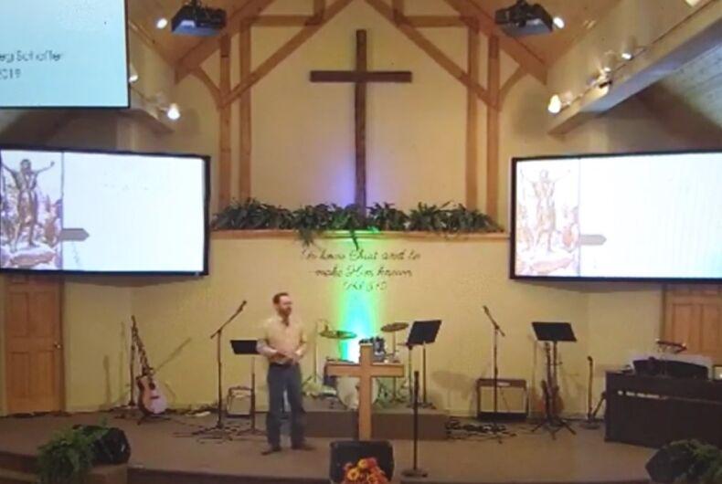 Pastor Greg Schaffer begs God to