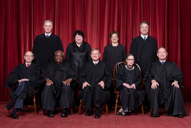The Roberts Court, November 30, 2018. Seated, from left to right: Justices Stephen G. Breyer and Clarence Thomas, Chief Justice John G. Roberts, Jr., and Justices Ruth Bader Ginsburg and Samuel A. Alito. Standing, from left to right: Justices Neil M. Gorsuch, Sonia Sotomayor, Elena Kagan, and Brett M. Kavanaugh.