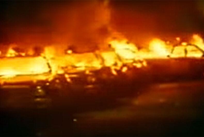 A police car burning
