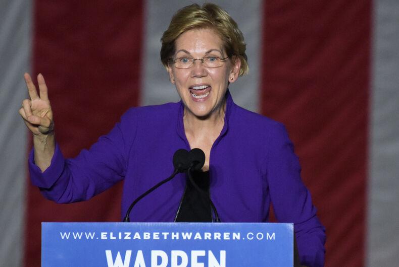 Elizabeth Warren, gay donor, video, Zach, three dollars