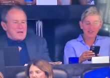 Ellen & George W. Bush were yukking it up while hanging out together at a football game
