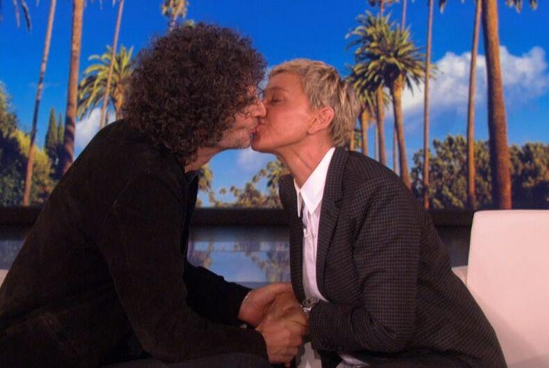 Howard Stern and Ellen, kissing
