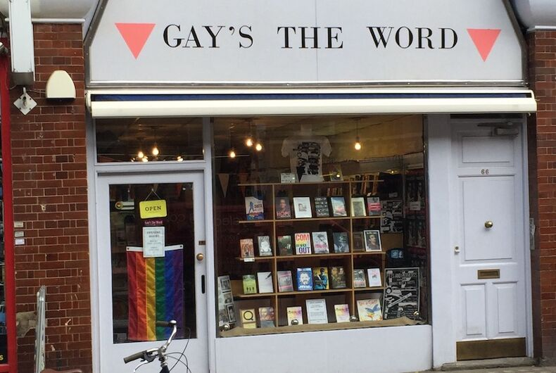 Gay's The Word is a gay bookstore whose sign has pink triangles and a rainbow flag in his glass front door.