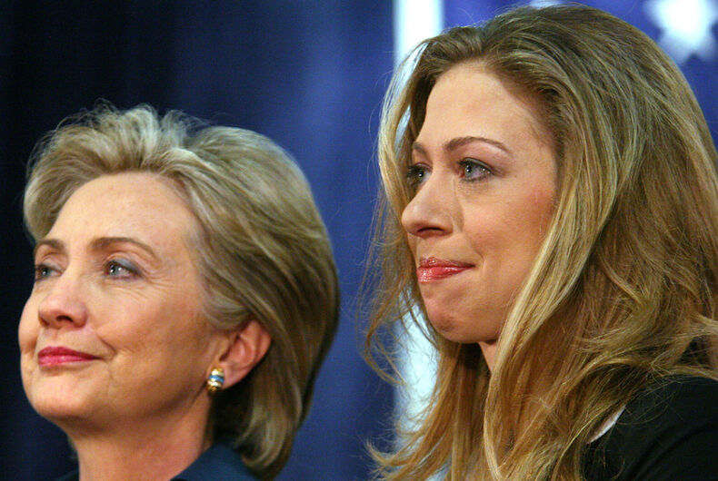 Democratic Presidential contender Hillary Clinton and Chelsea Clinton pictured during a campaign stop