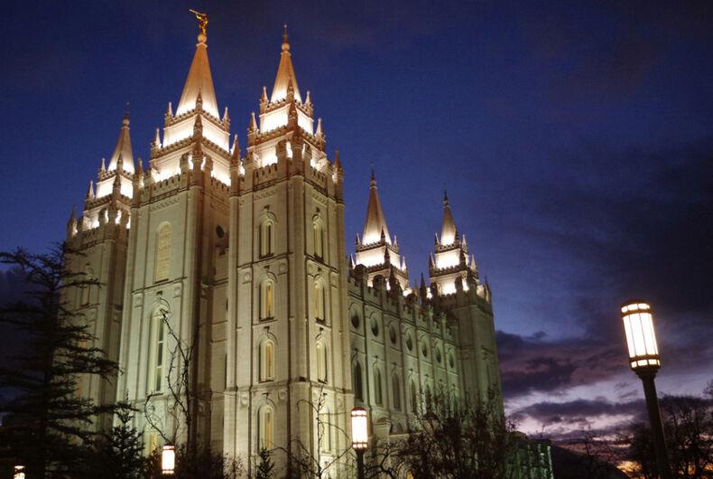 LDS Temple at Salt Lake City, Utah illuminated at dusk