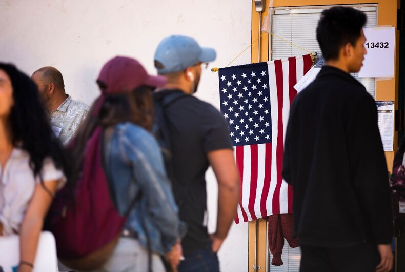 November 6, 2018: Voters wait in line at a Fullerton polling place to vote in the 2018 Midterm Elections