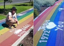 A pride crosswalk was defaced with Christian graffiti