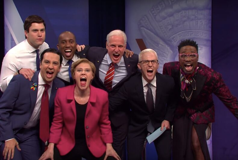 Actors shout at the camera during the Saturday Night Live cold open spoofing the recent CNN/HRC LGBTQ Town Hall.