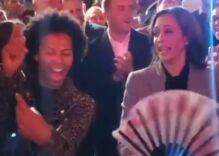 Shangela teaches Kamala Harris to thworp a fan like a queen