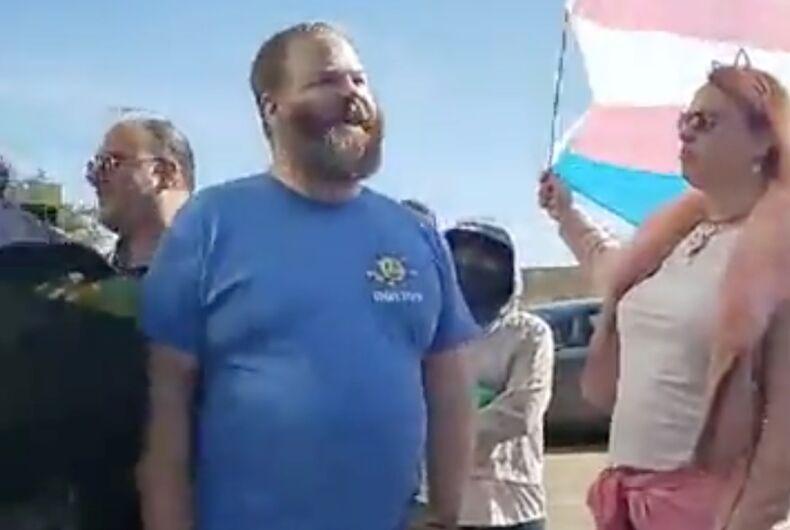 A member of Super Happy Fun America at the Dallas Straight Pride event. The