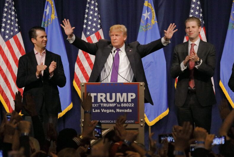 FEBRUARY 23, 2016: Donald Trump is flanked by sons Eric (Right) and Donald Jr. (Left) during Mr. Trump's victory speech after Nevada caucus