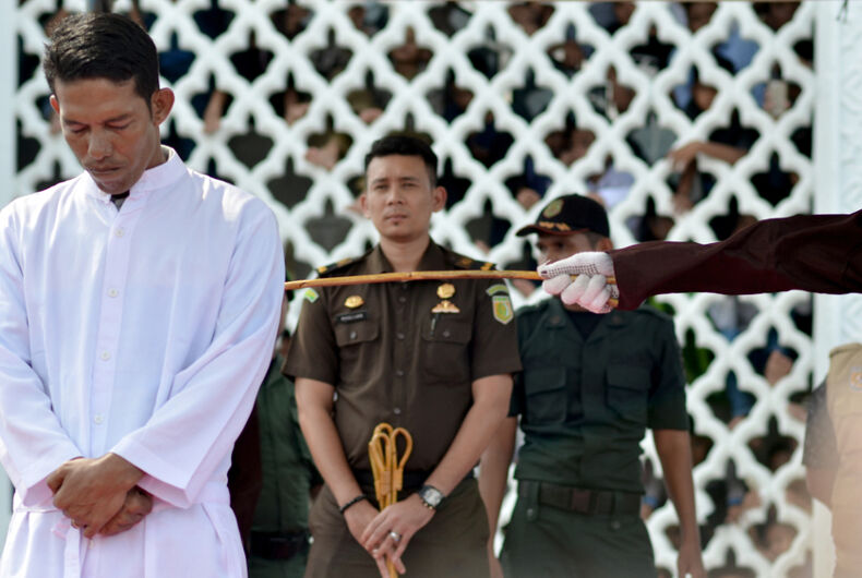 The execution of caning in 2018 against the perpetrators of violations of Islamic law in Banda Aceh in Ulee Kareng