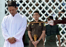 Four men were caned in Malaysia as part of a crackdown on homosexuality
