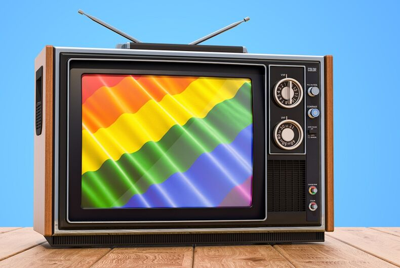 Television with a rainbow flag