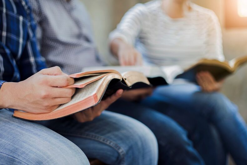 Students reading from Bibles
