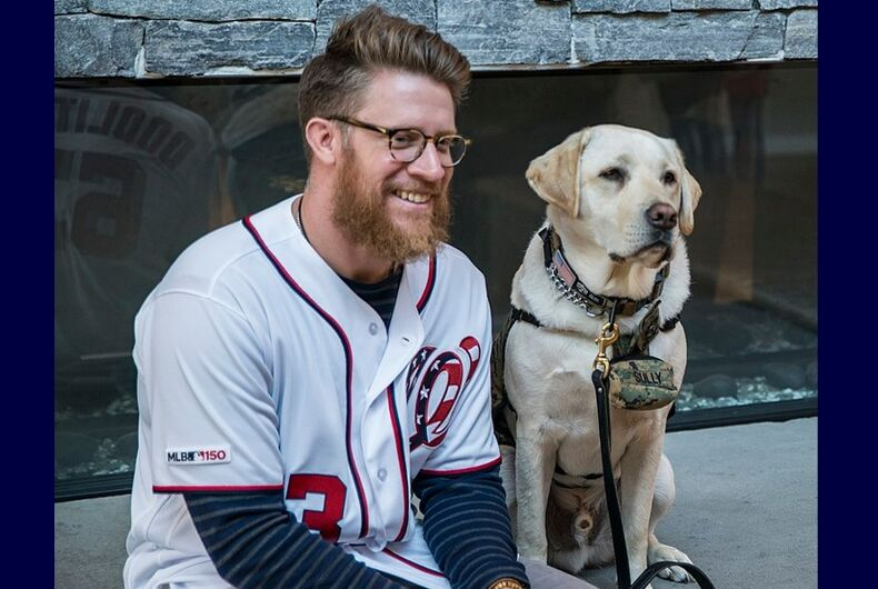 Sean Doolittle with Sully at Naval Support Activity Bethesda in 2019