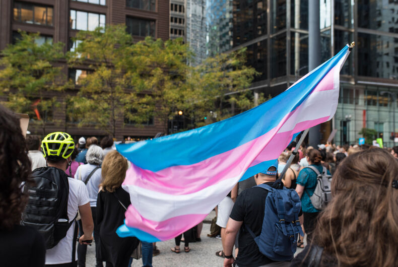 Transgender pride flag waving in the wind during a protest against white supremacy and discrimination after the events in Charlottesville, Virginia.