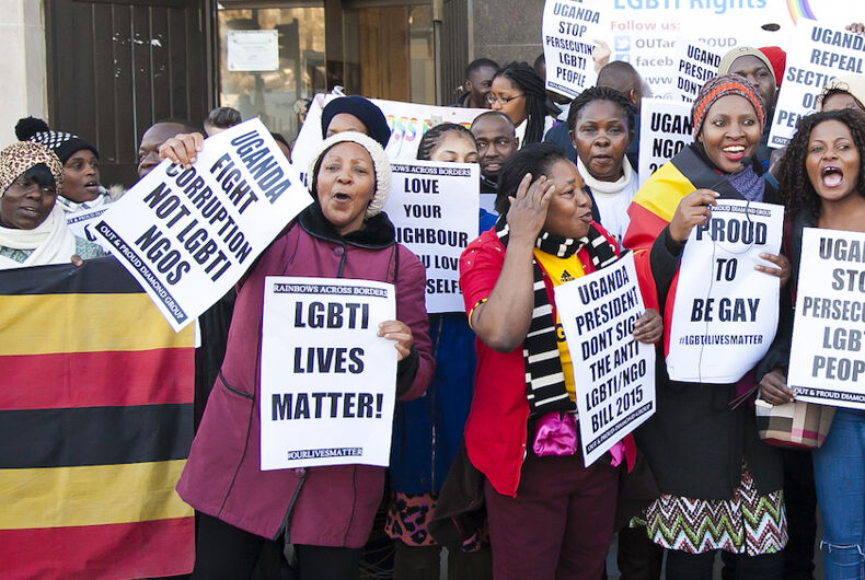 Ugandan LGBTQ activists push for LGBTQ rights in a public demonstration.