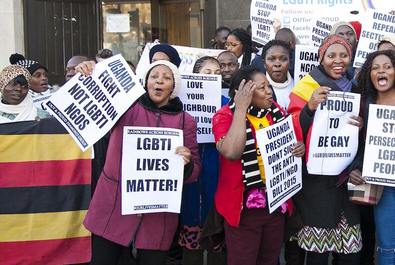 Ugandan LGBTQ activists push for LGBTQ rights in a public demonstration.
