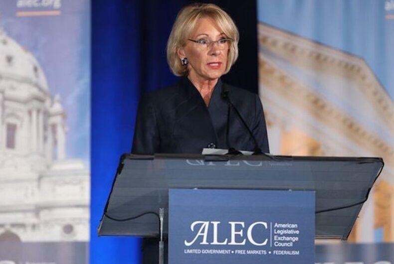 Educaion Secretary Betsy DeVos addressing an ALEC meeting