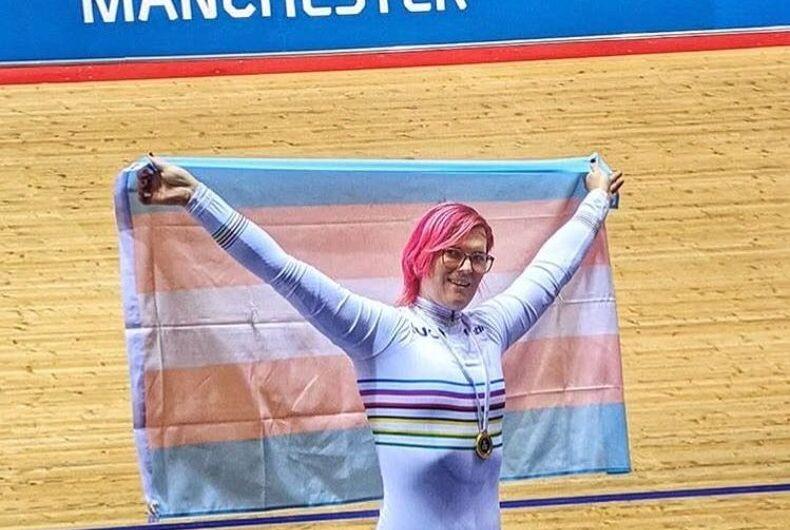 Rachel McKinnon, waving the transgender flag after winning Gold at the HSBC UK Nationals, 200m.
