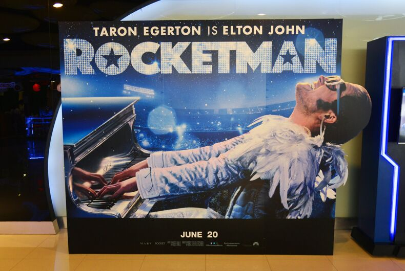 """Ad of biographical musical drama Movie """"Rocketman"""" based on the life of musician Elton John, displayed at a theater in Bangkok, Thailand."""