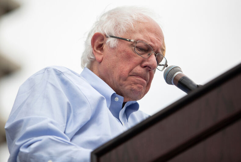 U.S. Senator Bernie Sanders, who is campaigning for a 2020 presidential bid, speaks to supporters at Grand Park in downtown Los Angeles on Saturday March 23, 2019, Los Angeles