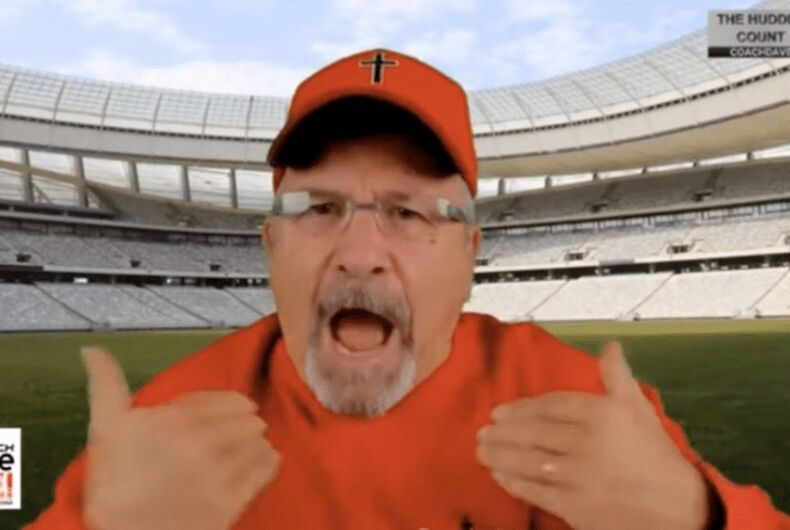 Dave Daubenmire is an old white guy with facial hair who performs in front of a green screen.
