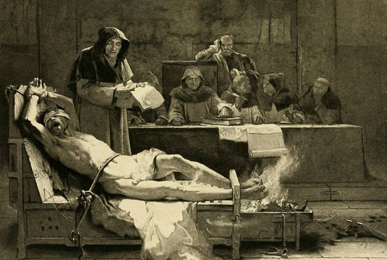 Illustration of a man being tortured during the Inquisition.
