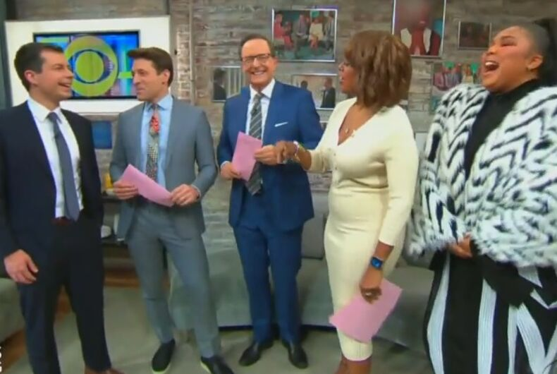 Lizzo and Pete Buttigieg with the hosts of