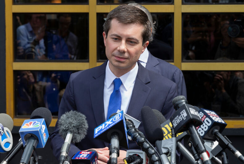 Mayor Pete Buttigieg hopeful for Democratic Party Presidential nomination speaks to press after attend lunch with Reverend Al Sharpton at Sylvia's Restaurant in Harlem