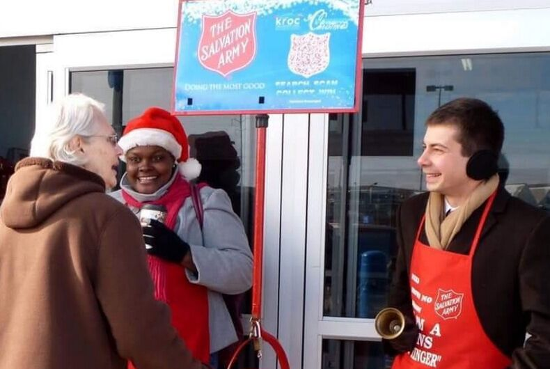 Pete Buttigieg ringing the bell for the Salvation Army