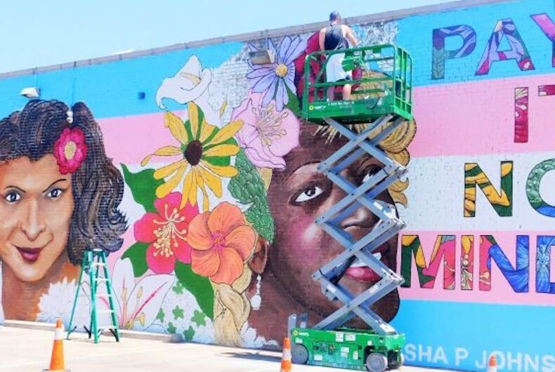 Dallas transgender mural featuring Sylvia Rivera and Marsha P. Johnson (before it was defaced).