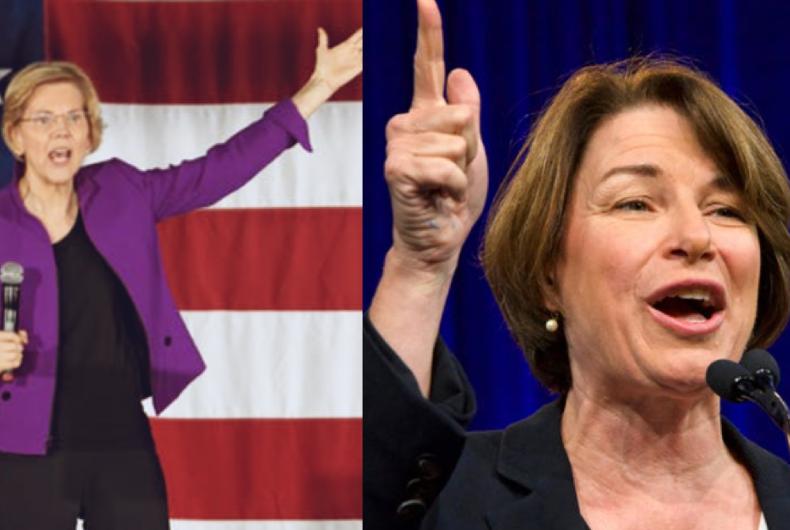 Presidential hopefuls and Democratic Senators Elizabeth Warren (left) and Amy Kloubachar (right).