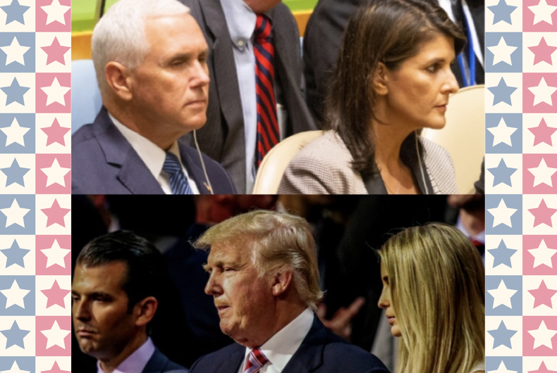 (From left to right, top to bottom) Mike Pence, Nikki Haley, Donald Trump Jr., and Ivanka Trump are all considered potential heirs to the presidency of Donald Trump (center)