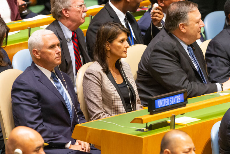 New York, NY - September 25, 2018: John Bolton, Mike Pence, Nikki Haley, Mike Pompeo attend 73rd UNGA session at United Nations Headquarters