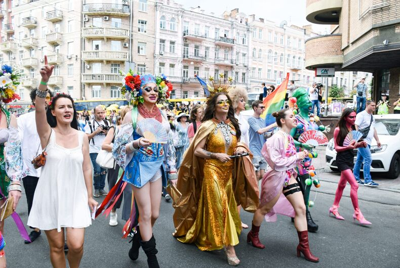 JUNE 23, 2019: Drag queens march in the Kyiv Pride 2019 Equality March in support of LGBT rights in Ukraine