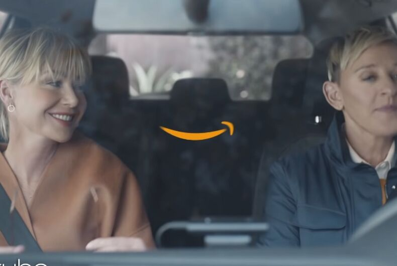 Ellen and Portia in a car with the Amazon
