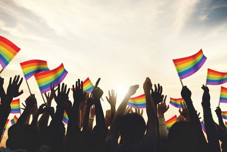 rainbow flags in a celebration